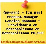 (HR-672) – [ZW.541] Product Manager Canales Remotos – Providencia en Metropolitana en Metropolitana PO.938