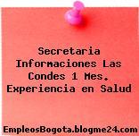 Secretaria Informaciones Las Condes 1 Mes. Experiencia en Salud