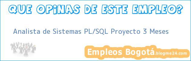 Analista de Sistemas PL/SQL Proyecto 3 Meses