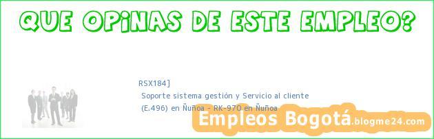RSX184] | Soporte sistema gestión y Servicio al cliente | (E.496) en Ñuñoa – RK-970 en Ñuñoa