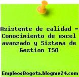 Asistente de calidad – Conocimiento de excel avanzado y Sistema de Gestion ISO
