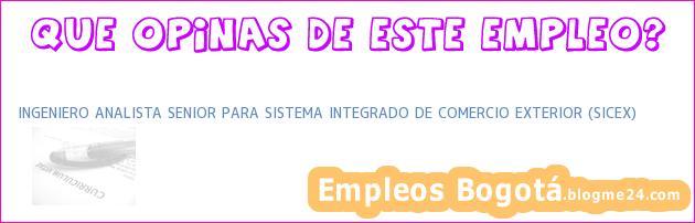 INGENIERO ANALISTA SENIOR PARA SISTEMA INTEGRADO DE COMERCIO EXTERIOR (SICEX)