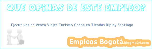 Ejecutivos de Venta Viajes Turismo Cocha en Tiendas Ripley Santiago
