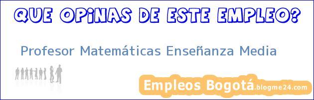 Profesor Matemáticas Enseñanza Media
